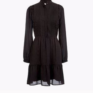 J. Crew Black Ruffle Pintuck Dress